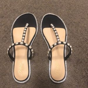 Flat Diamond and Pearl Sandals